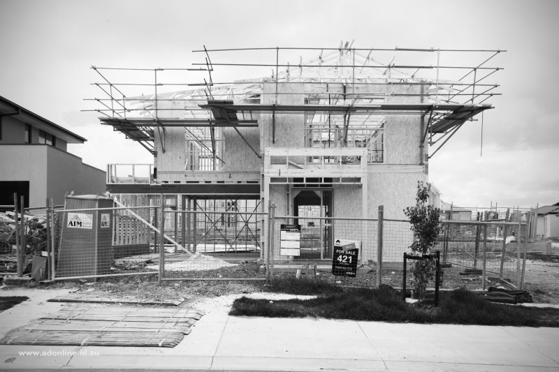 House under construction.