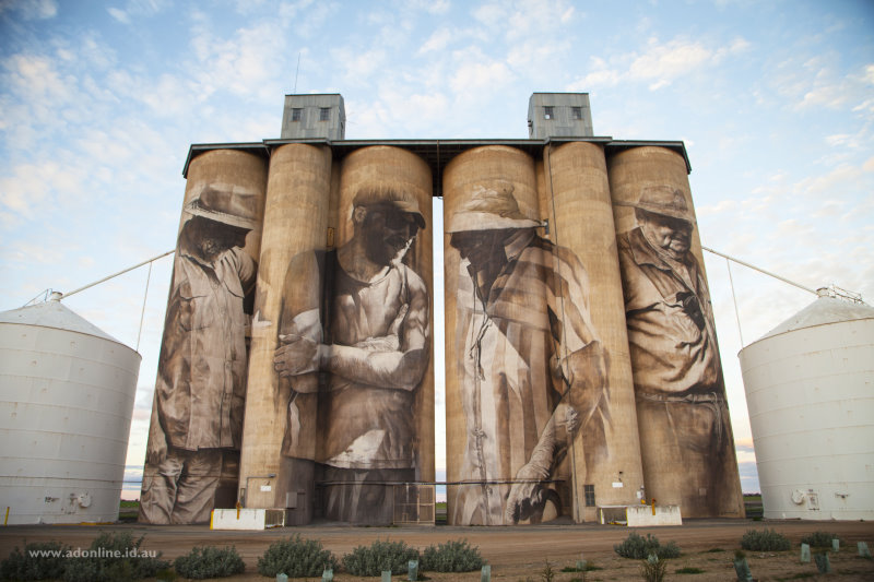 The silos at Brim, painted by Guido van Helden.