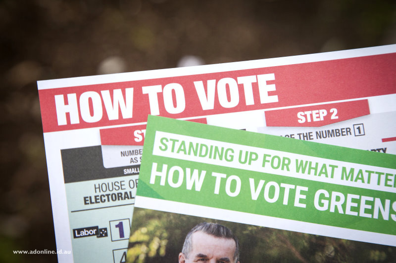 Close up photo of how-to-vote cards.