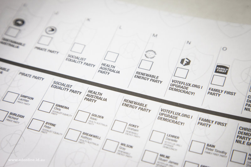 A portion of the Senate ballot paper showing candidates' names and party logos (where applicable).