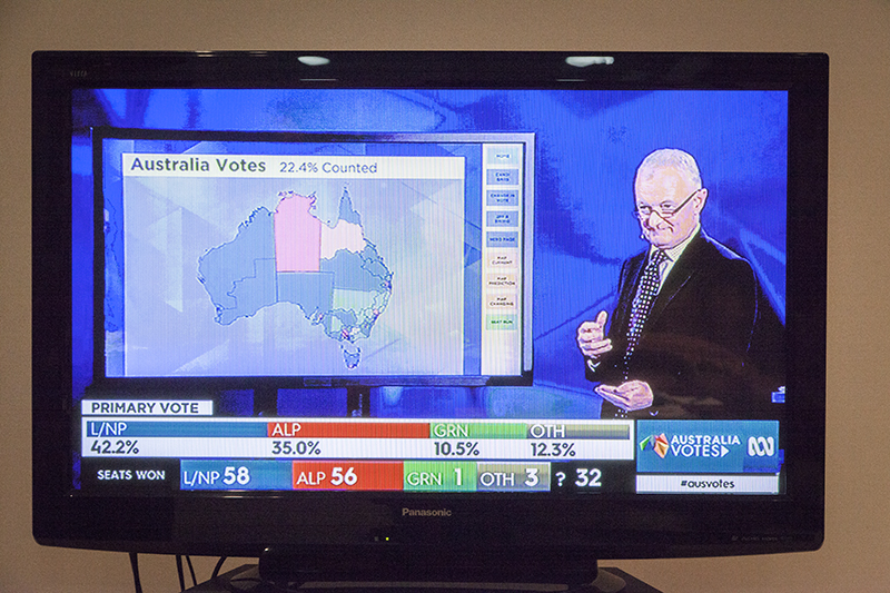 Antony Green providing election analysis on ABC Television during the ABC's live election coverage.