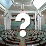 House of representatives with question mark imposed over the top.