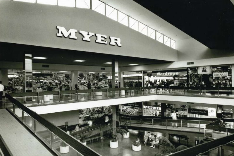 Black and white image of shopping centre showing Myer