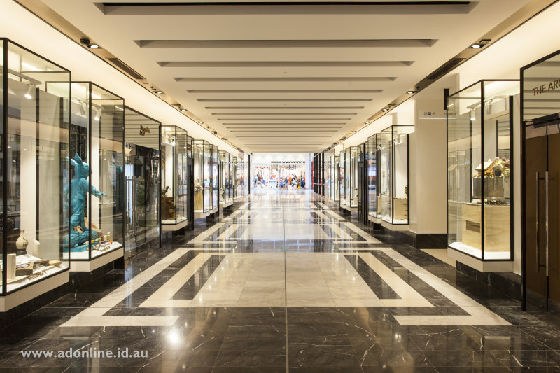 Shop windows reminiscent of Collins Street in Melbourne's CBD