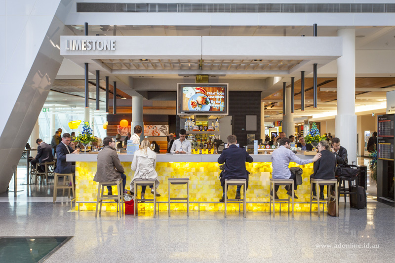 Limestone: One of the bars at Canberra Airport.