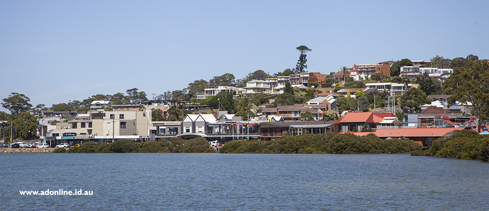 View of town from bay