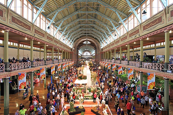 Interior of the Royal Exhibition Buildings during the Melbourne International Flower and Garden Show 2014.