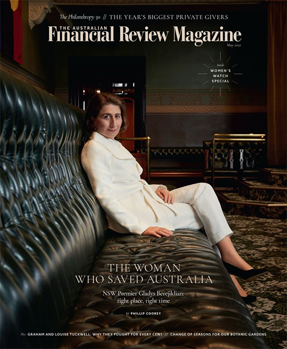 Cover of a magazine showing New South Wales Premier Gladys Berejiklian posing for the camera in the NSW parliament.