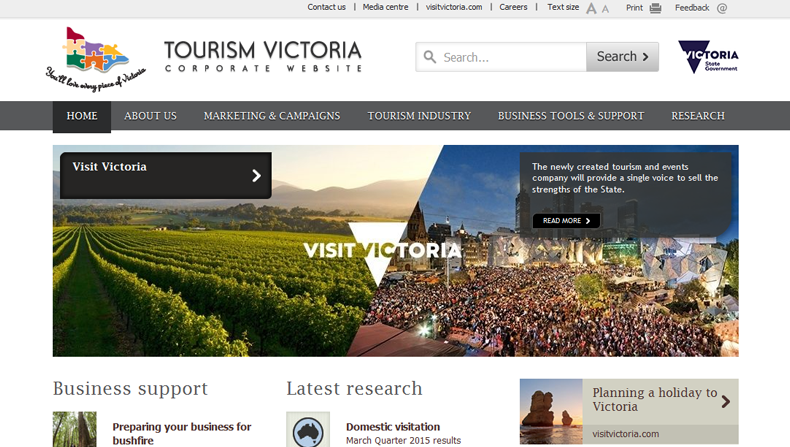 The Tourism Victoria website as of 14 August 2015.