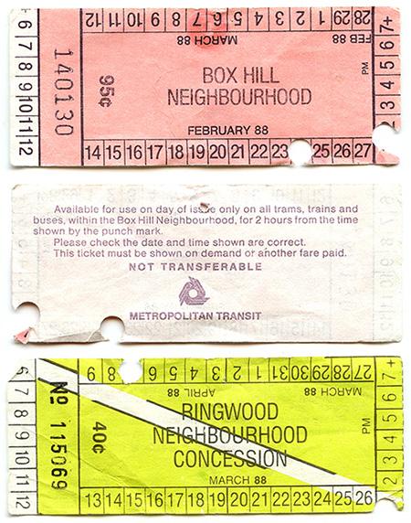 Three rail tickets, scanned.