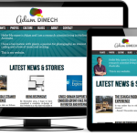 Adam Dimech's website displayed at three different sizes on a tablet, a phone and a monitor