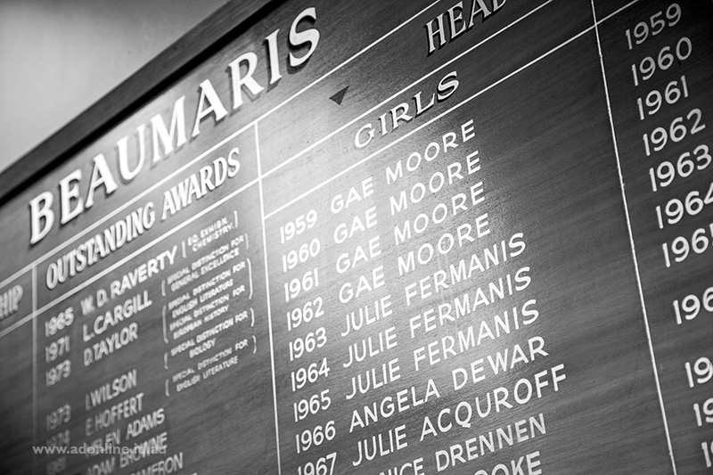 Wooden honours board with gold painted lettering