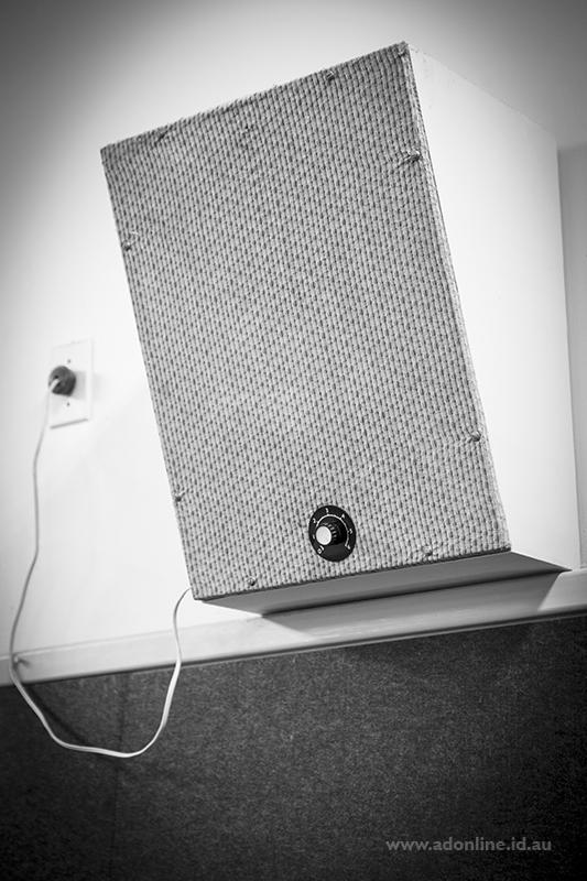 Loudspeaker with volume knob.