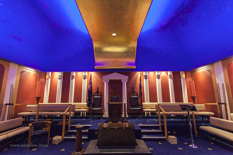Interior of room with blue ceiling and stars shining