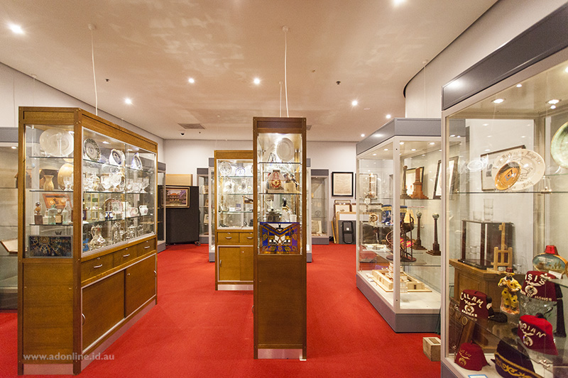 Display cases at the Museum of Freemasonry in Sydney.