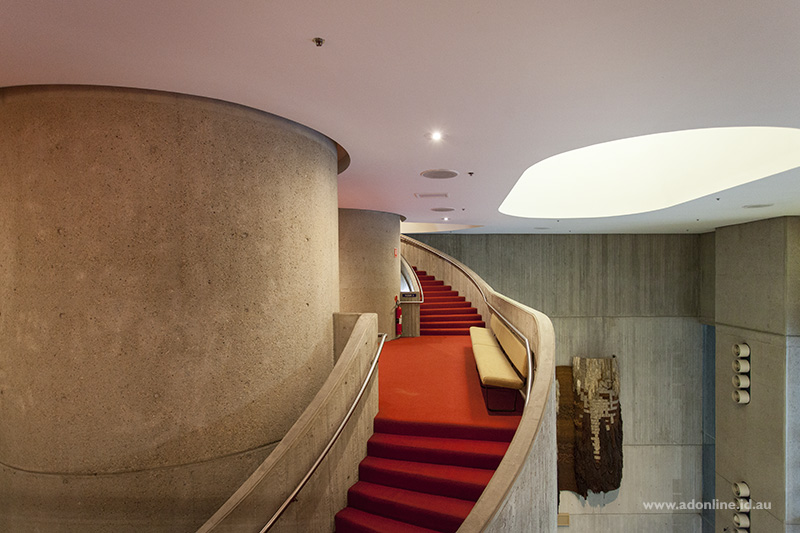 The massive staircase that provides access between the floors of the Sydney Masonic Centre.