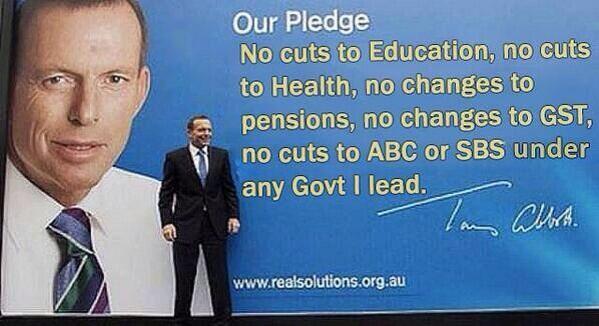 Tony Abbott in front of a billboard