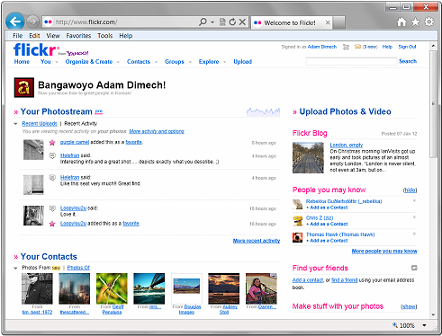 Flickr activities page