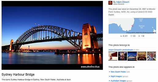 Flickr page with the Sydney Harbour Bridge displayed