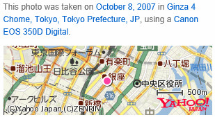 Close-up map of Ginzawith details visible