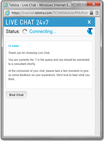 The Telstra MyChat window